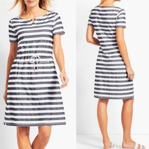 NEW! Talbots Drawstring -Waist Stripe Dress small